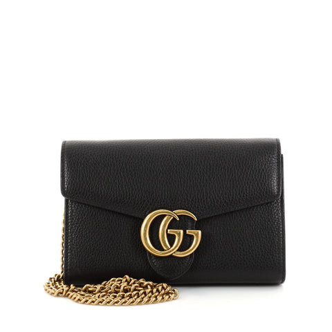 305d62bac20931 Buy Gucci GG Marmont Chain Wallet Leather Mini Black 2751602 – Rebag