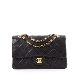 Chanel Vintage Classic Double Flap Bag Quilted Lambskin Black 2753801