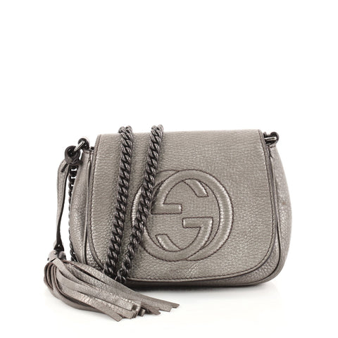 e8d2deb67 Buy Gucci Soho Chain Crossbody Bag Leather Small Gray 2754902 – Rebag