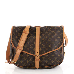 Louis Vuitton Saumur Handbag Monogram Canvas GM Brown 2755103