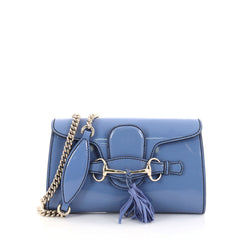 Gucci Emily Chain Flap Bag Patent Small Blue 2755504