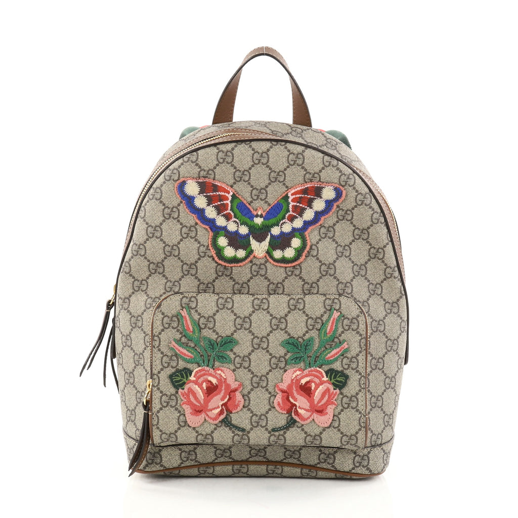 4574534f2ce9 Buy Gucci Zip Pocket Backpack Embroidered GG Coated Canvas 2766702 ...