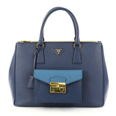 Prada Front Pocket Double Zip Lux Tote Saffiano Leather Medium Blue 2769601