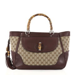 Gucci New Bamboo Tote Canvas Medium Brown 2772101