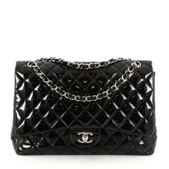 Chanel Classic Single Flap Bag Quilted Patent Maxi Black 2772401