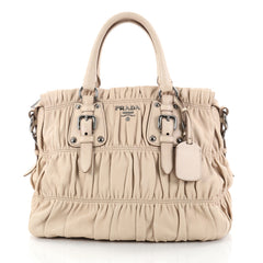 Prada Gaufre Convertible Tote Nappa Leather Large Neutral 2772615
