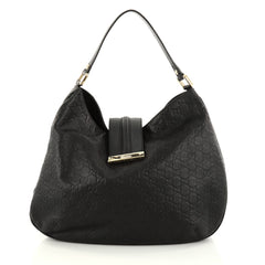 Gucci New Ladies Web Hobo Guccissima Leather Medium Black 2774202