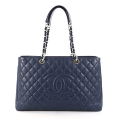 Chanel Grand Shopping Tote Quilted Caviar XL Blue 2775801