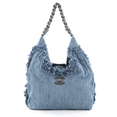 Chanel Chain Hobo Fringe Quilted Denim Medium Blue 2777001