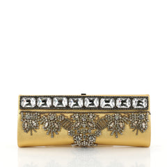 Valentino Chain Frame Clutch Embellished Leather Long Yellow 2782502