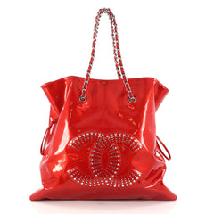 Chanel Bon Bon Tote Strass Embellished Patent Large Red 2783501
