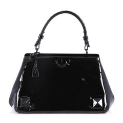 Bottega Veneta Frame Top Handle Bag Patent Black 2785405