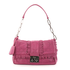 Christian Dior New Lock Ruffle Flap Bag Perforated Pink 2785802