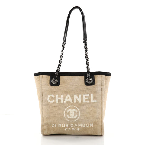 dc35357b5d3d Buy Chanel Deauville Chain Tote Canvas Small Neutral 2786001 – Rebag