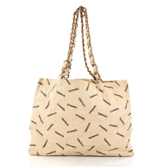 Chanel Logo Shopping Tote Quilted Printed Canvas Large Neutral 2786005
