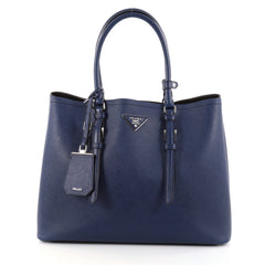 Prada Cuir Double Tote Saffiano Leather Medium Blue 2786802