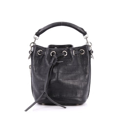 Saint Laurent Emmanuelle Bucket Bag Crocodile Embossed Leather Small Black 2787701