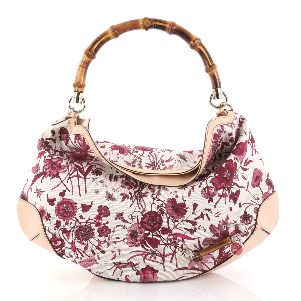 f40909ad5c7 Buy Gucci Peggy Bamboo Handle Hobo Flora Canvas Pink 2788001 – Rebag