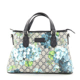 Gucci Convertible Tote Blooms Print GG Coated Canvas Small Gray 2791102