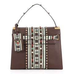 Valentino My Rockstud Convertible Satchel Tribal Embellished Leather Medium Brown 2792101