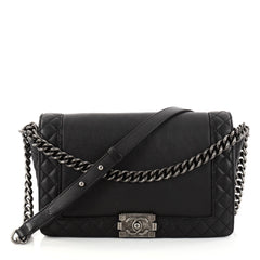 Chanel Reverso Boy Flap Bag Calfskin New Medium Black 2792310
