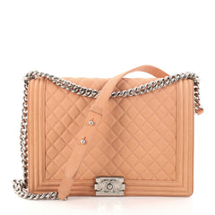 Chanel Boy Flap Bag Quilted Matte Caviar Large Pink 2794201