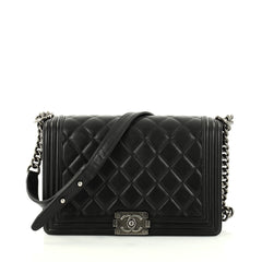Chanel Boy Flap Bag Quilted Lambskin New Medium Black 2794406