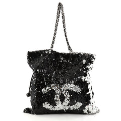 Chanel Summer Night Drawstring Tote Sequins Large Black 2794603