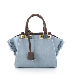 Fendi 3Jours Handbag Studded Denim Mini Blue 2797601