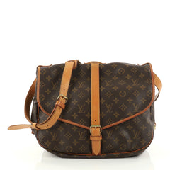 Louis Vuitton Saumur Handbag Monogram Canvas GM Brown 2799404