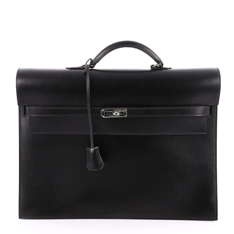 Buy Hermes Kelly Depeche Handbag Box Calf 38 Black 2799901 – Rebag b4282a553c868