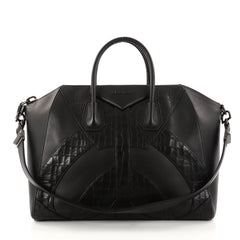 Givenchy Antigona Bag Leather and Crocodile Embossed Large Black 2800002