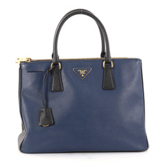 Bicolor Double Zip Lux Tote Saffiano Leather Medium
