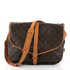 Louis Vuitton Saumur Handbag Monogram Canvas GM Brown 2802702