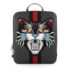 Gucci Angry Cat Web Backpack GG Coated Canvas with Applique Medium Black 2803201