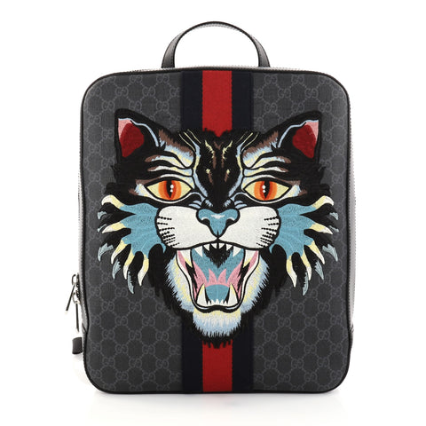 1bc325d103a2 Buy Gucci Angry Cat Web Backpack GG Coated Canvas with 2803201 – Rebag