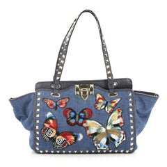 Valentino Rockstud Tote Denim with Butterfly Applique Small Blue 2804001