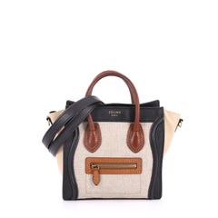 Celine Tricolor Luggage Handbag Canvas and Leather Nano 2806801