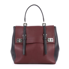 Prada Half Flap Double Turn Lock Satchel City Calfskin Large Red 2809504