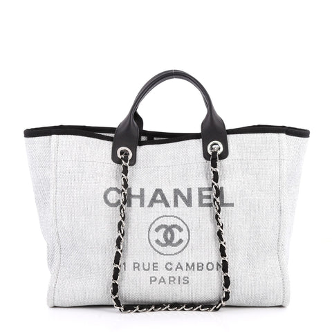 bc0859641773b1 Buy Chanel Deauville Chain Tote Canvas Large Gray 2810502 – Rebag