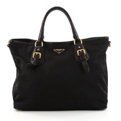 Prada Convertible Belted Tote Tessuto Large Black 2811601