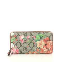 Gucci Zip Around Wallet Blooms Print GG Coated Canvas Brown 2812102