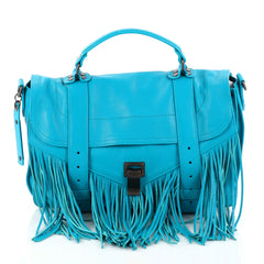 Proenza Schouler PS1 Fringe Handbag Leather Medium Blue 2815701