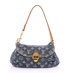 Louis Vuitton Pleaty Handbag Denim Mini Blue 2817002