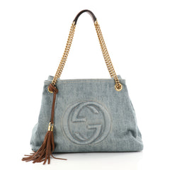 Gucci Soho Chain Strap Shoulder Bag Denim Medium Blue 2817301
