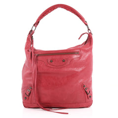 Balenciaga Day Hobo Classic Studs Leather Red 2819501