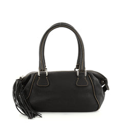 Chanel Lax Tassel Bag Pebbled Leather Medium Black 2821804