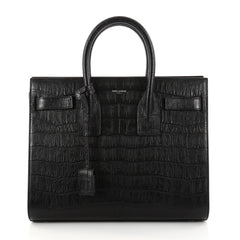 Saint Laurent Sac de Jour Handbag Crocodile Embossed Leather Small Black 2822102