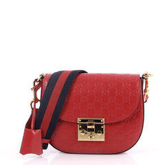 Gucci Padlock Saddle Shoulder Bag Guccissima Leather Medium Red 2824601
