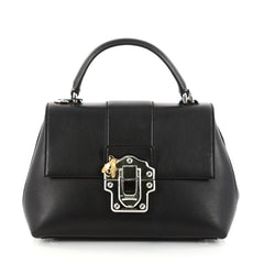 Dolce & Gabbana Convertible Lucia Top Handle Bag Leather Medium Black 2824801